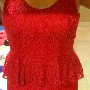 BEAUTIFUL RED PEPLUM DRESS